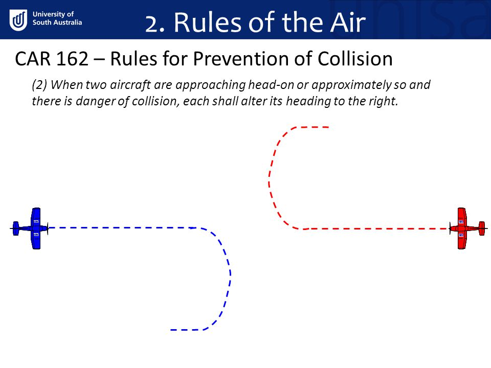 2. Rules of the Air CAR 162 – Rules for Prevention of Collision (2) When two aircraft are approaching head on or approximately so and there is danger