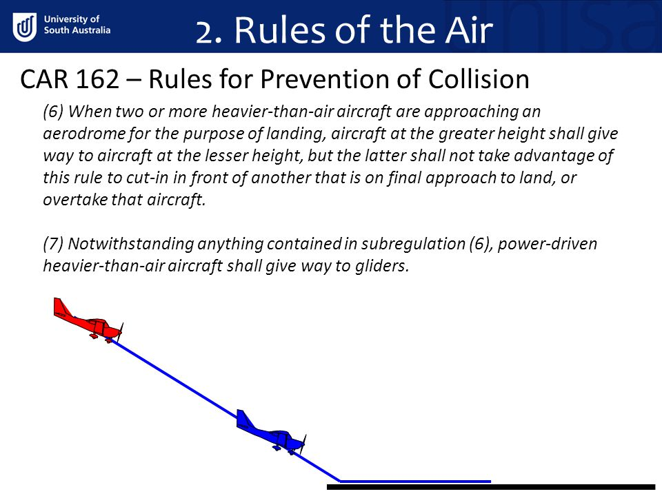 2. Rules of the Air CAR 162 – Rules for Prevention of Collision (6) When two or more heavier than air aircraft are approaching an aerodrome for the pu