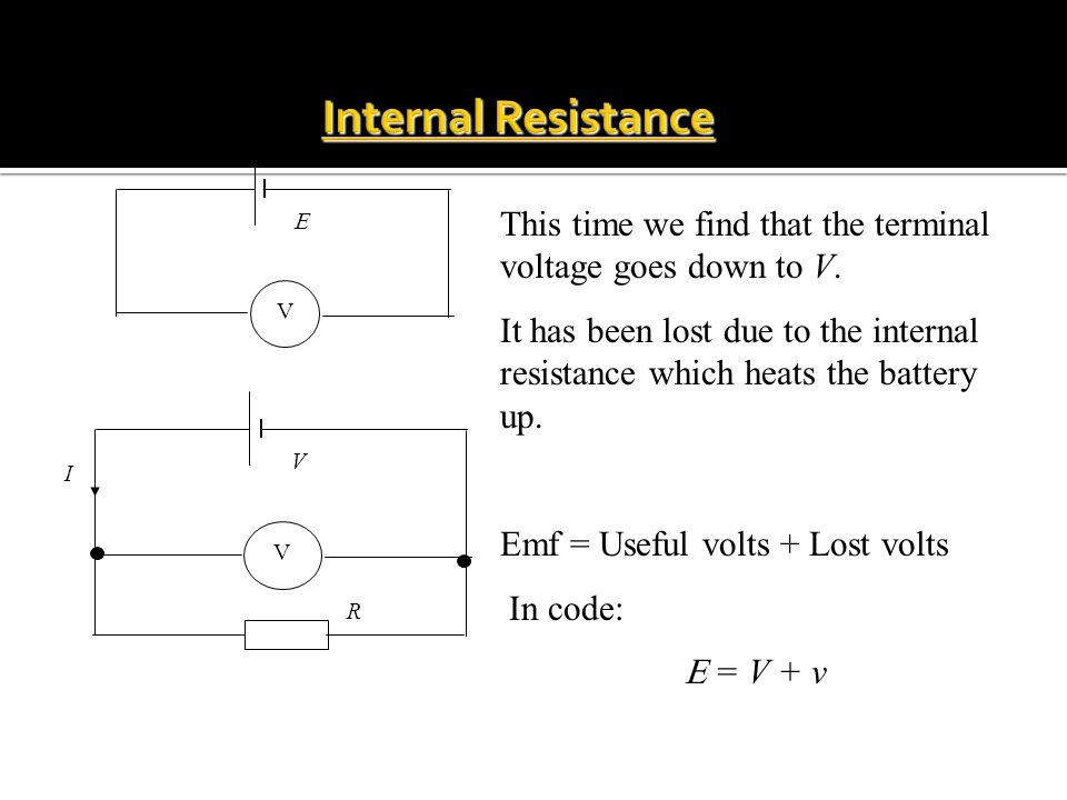 V E V V R I This time we find that the terminal voltage goes down to V.