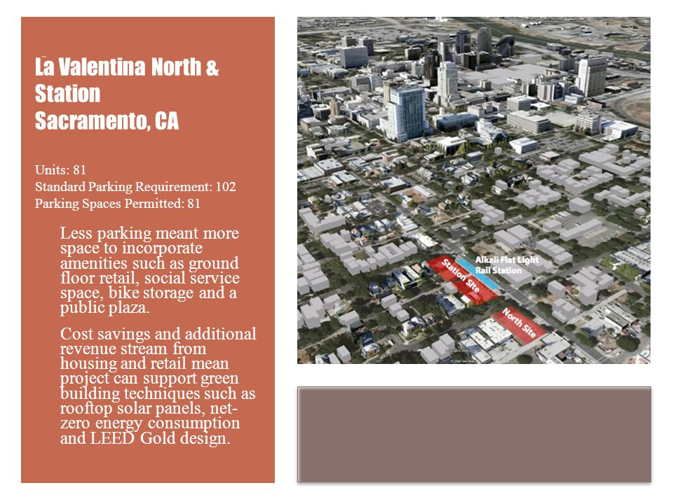 + Less parking meant more space to incorporate amenities such as ground floor retail, social service space, bike storage and a public plaza.