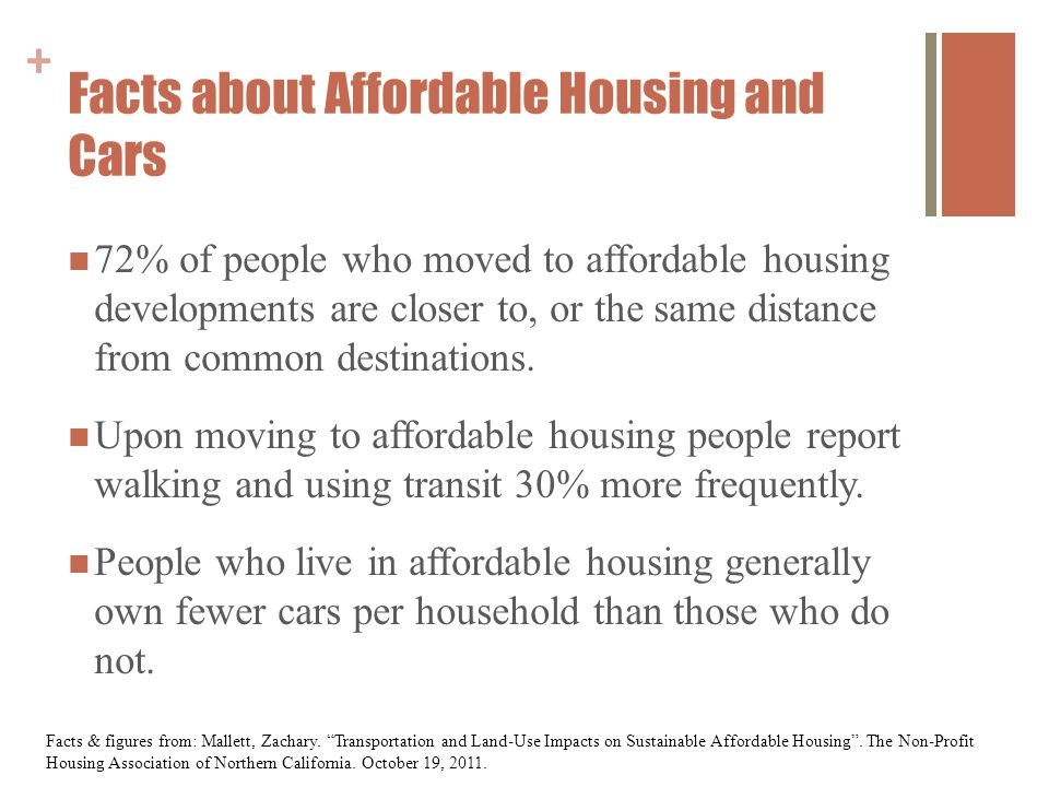 + Facts about Affordable Housing and Cars 72% of people who moved to affordable housing developments are closer to, or the same distance from common destinations.