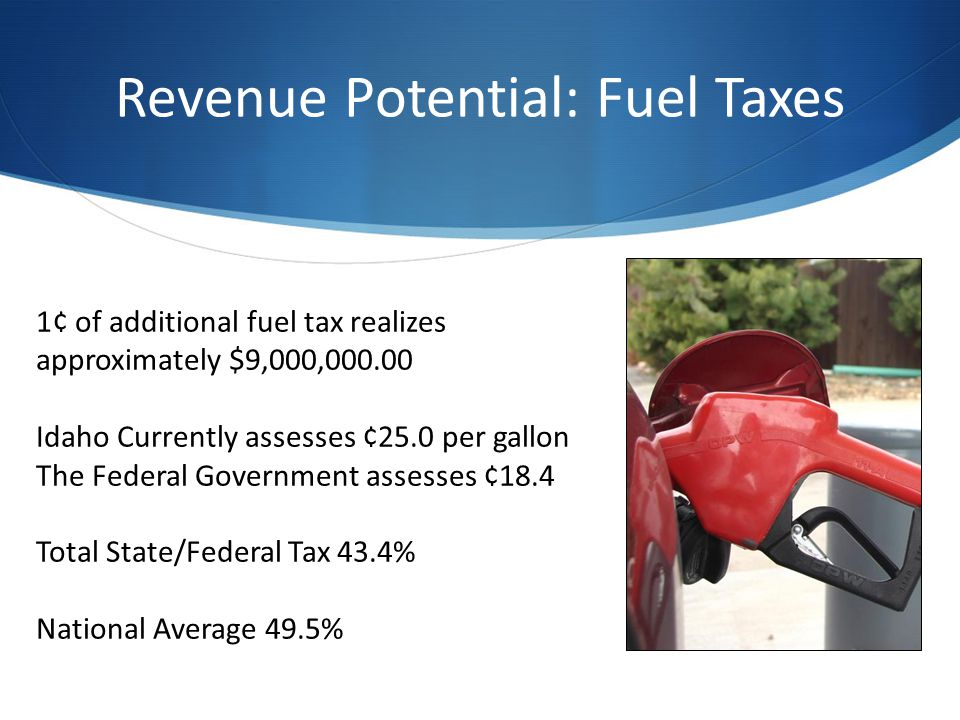 Revenue Potential: Fuel Taxes 1¢ of additional fuel tax realizes approximately $9,000,000.00 Idaho Currently assesses ¢25.0 per gallon The Federal Government assesses ¢18.4 Total State/Federal Tax 43.4% National Average 49.5%