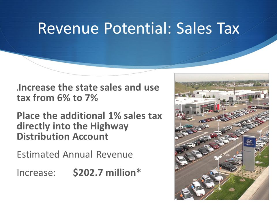 Revenue Potential: Sales Tax Increase the state sales and use tax from 6% to 7% Place the additional 1% sales tax directly into the Highway Distribution Account Estimated Annual Revenue Increase: $202.7 million*