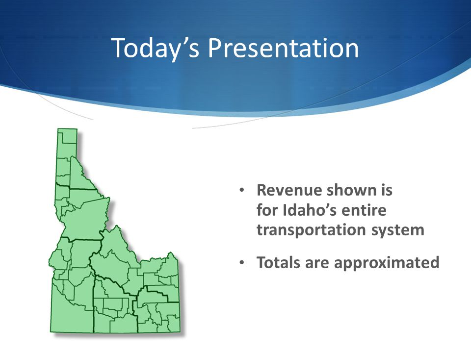 Revenue Needs The Task Force on Modernizing Transportation Funding recommended that Idaho should increase transportation funding by $543 million annually for all system needs, or by at least $262 million annually to operate, preserve, and restore the existing system.