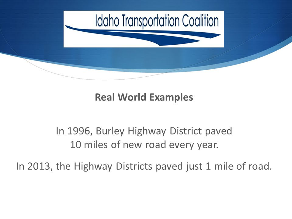 Real World Examples In 1996, Burley Highway District paved 10 miles of new road every year.