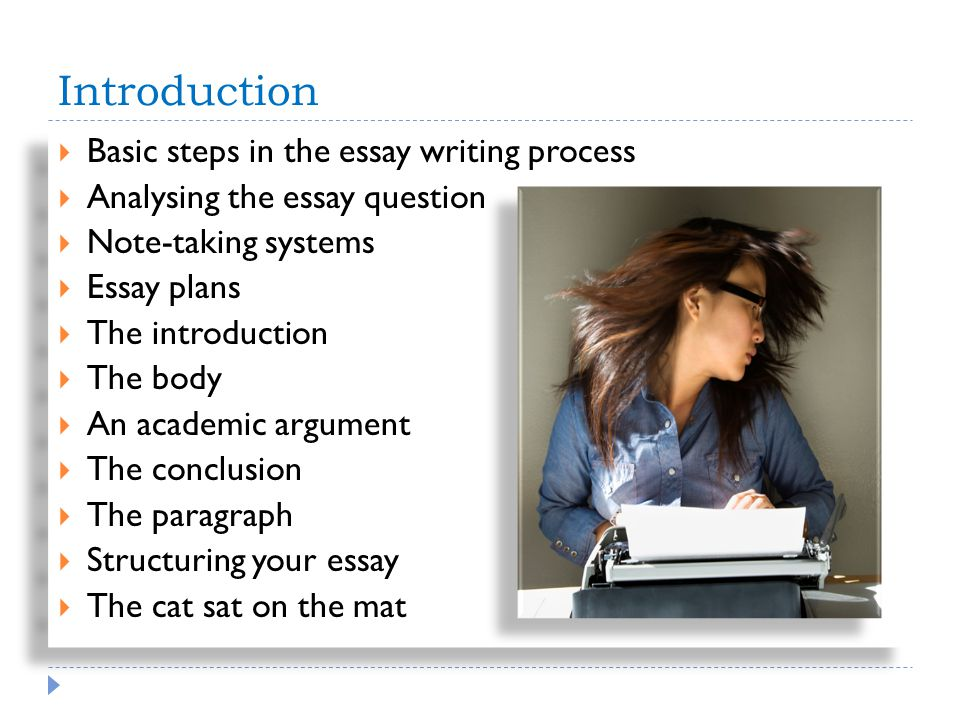 Introduction Basic steps in the essay writing process Analysing the essay question Note-taking systems Essay plans The introduction The body An academic argument The conclusion The paragraph Structuring your essay The cat sat on the mat Basic steps in the essay writing process Analysing the essay question Note-taking systems Essay plans The introduction The body An academic argument The conclusion The paragraph Structuring your essay The cat sat on the mat