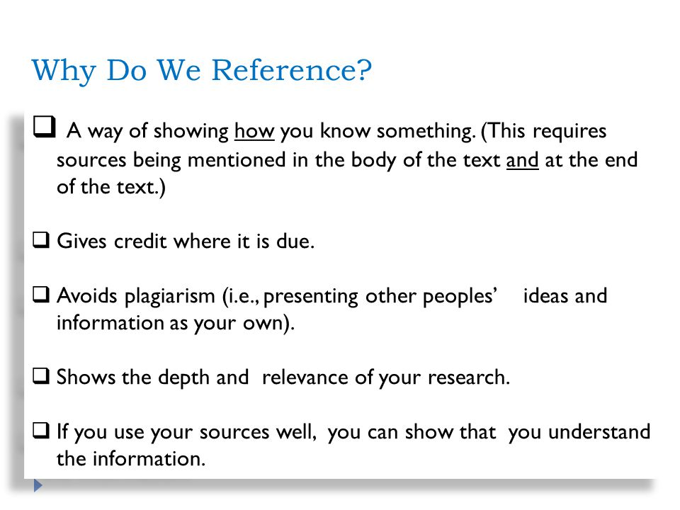 Why Do We Reference. A way of showing how you know something.