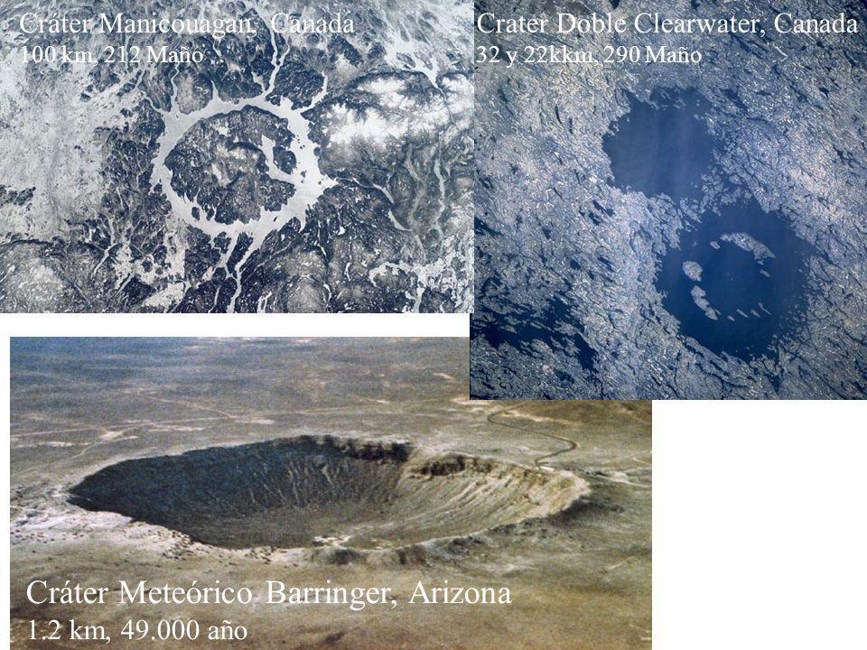 Cráter Meteórico Barringer, Arizona 1.2 km, 49.000 año Crater Doble Clearwater, Canada 32 y 22kkm, 290 Maño Cráter Manicouagan, Canada 100 km, 212 Maño