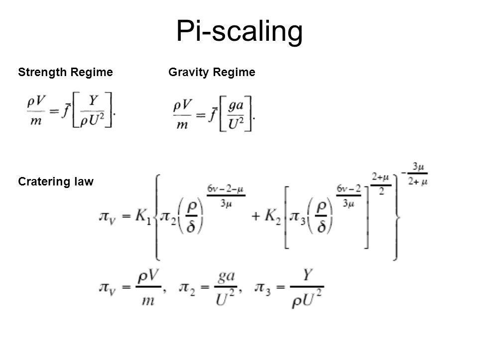 Pi-scaling Strength RegimeGravity Regime Cratering law