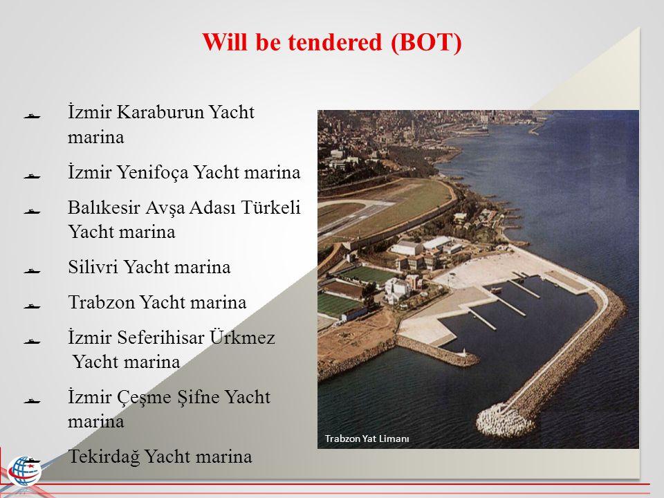 Will be tendered (BOT) İzmir Karaburun Yacht marina İzmir Yenifoça Yacht marina Balıkesir Avşa Adası Türkeli Yacht marina Silivri Yacht marina Trabzon