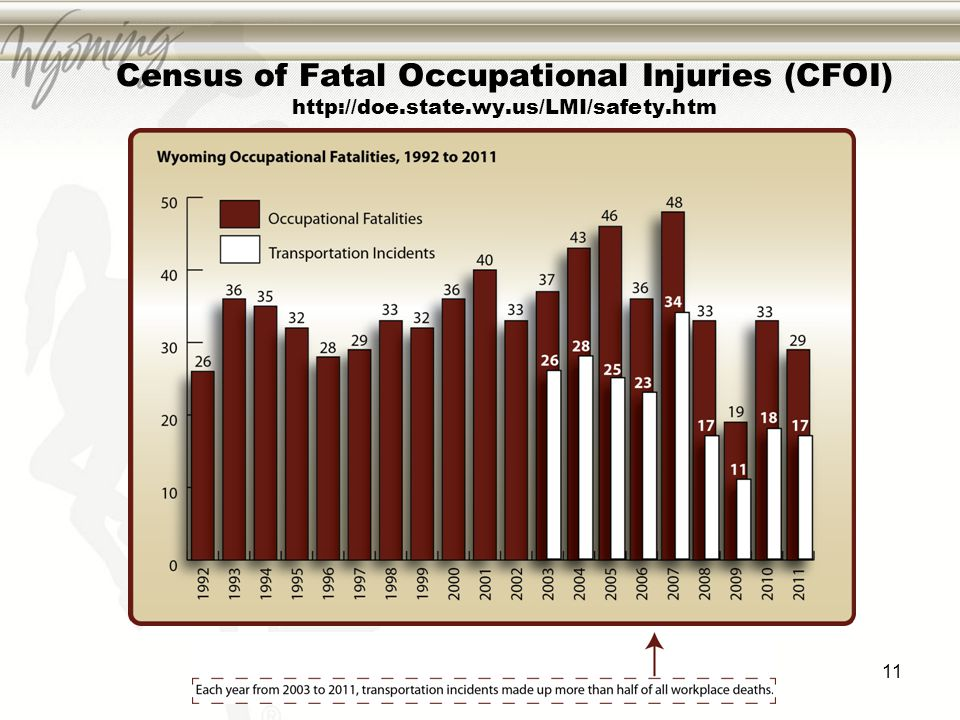 11 Census of Fatal Occupational Injuries (CFOI) http://doe.state.wy.us/LMI/safety.htm