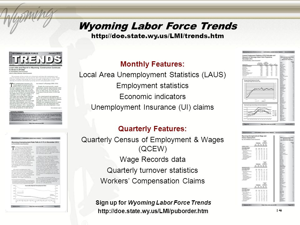 14 Wyoming Labor Force Trends http://doe.state.wy.us/LMI/trends.htm Monthly Features: Local Area Unemployment Statistics (LAUS) Employment statistics