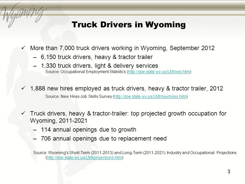 Truck Drivers in Wyoming More than 7,000 truck drivers working in Wyoming, September 2012 –6,150 truck drivers, heavy & tractor trailer –1,330 truck d