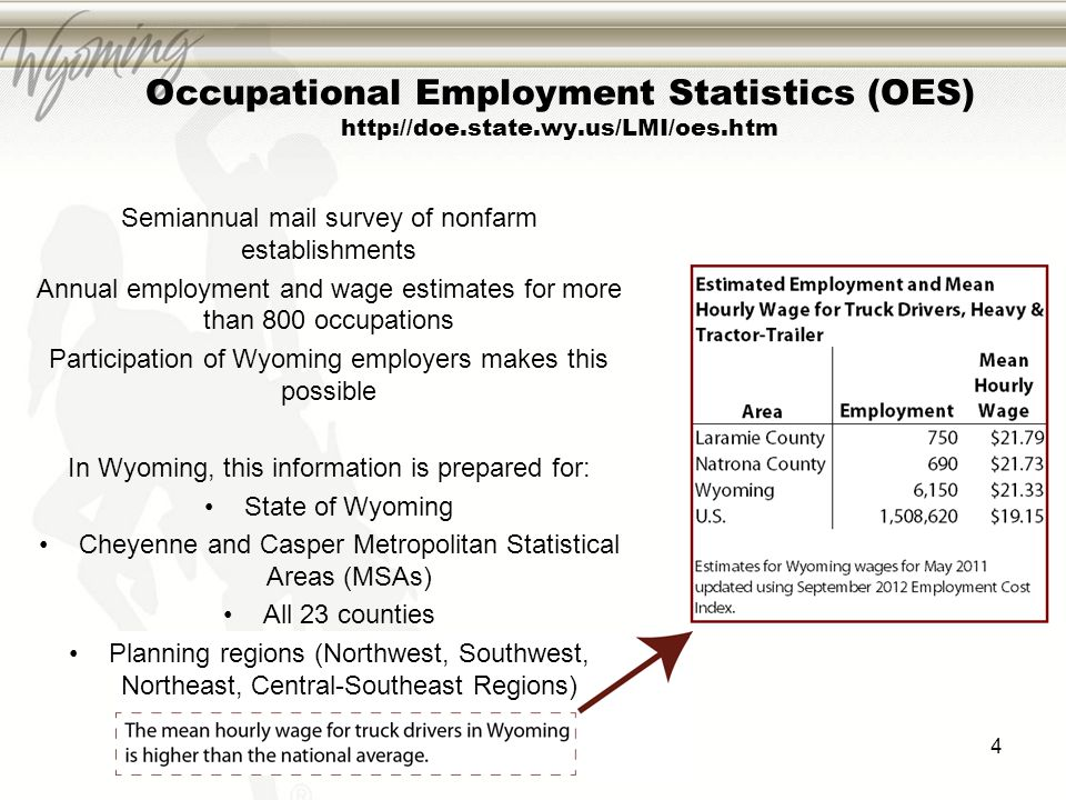 4 Occupational Employment Statistics (OES) http://doe.state.wy.us/LMI/oes.htm Semiannual mail survey of nonfarm establishments Annual employment and w