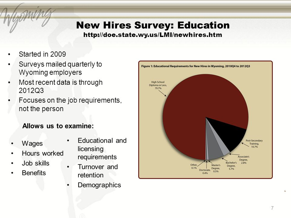 7 New Hires Survey: Education http://doe.state.wy.us/LMI/newhires.htm Started in 2009 Surveys mailed quarterly to Wyoming employers Most recent data i