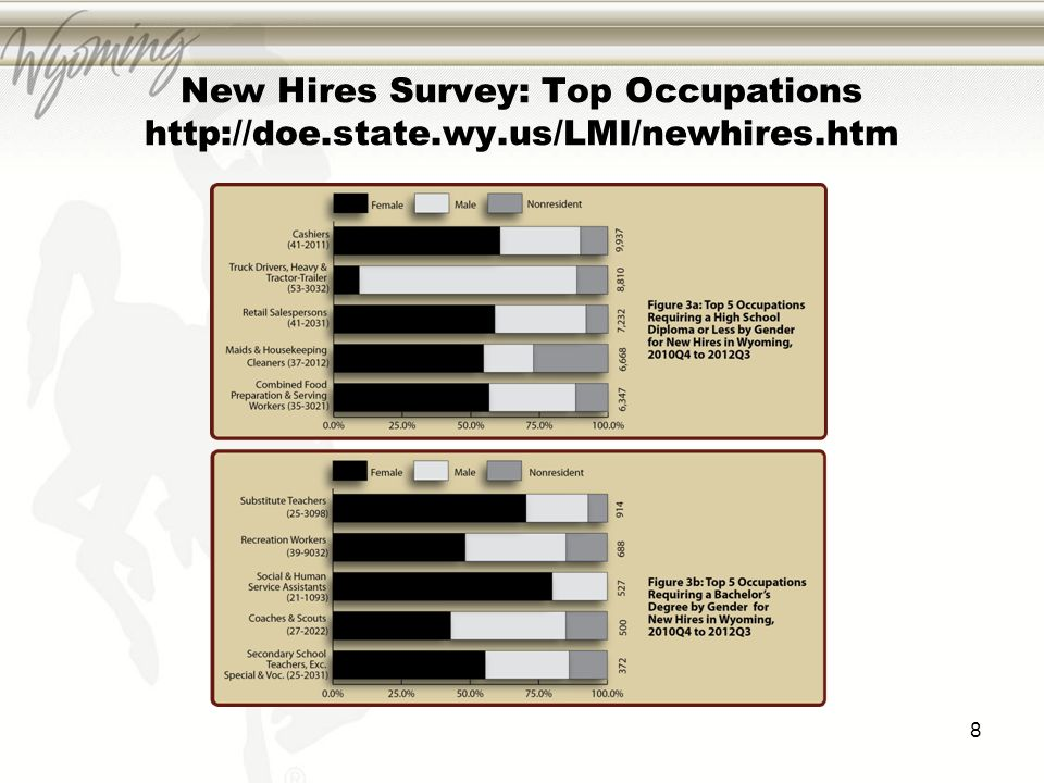 New Hires Survey: Top Occupations http://doe.state.wy.us/LMI/newhires.htm 8