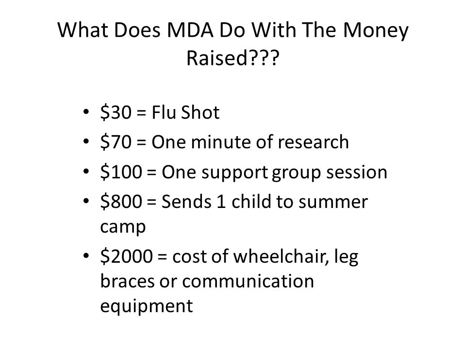 What Is MDA? Muscular Dystrophy Association, MDA, is a national voluntary health agency dedicated to conquering more than 40 neuromuscular diseases th
