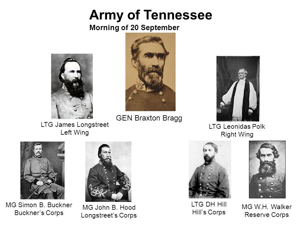 LTG Leonidas Polk Right Wing Army of Tennessee Morning of 20 September MG W.H. Walker Reserve Corps LTG DH Hill Hills Corps GEN Braxton Bragg MG Simon