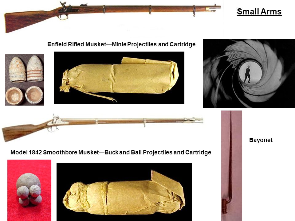 Model 1842 Smoothbore MusketBuck and Ball Projectiles and Cartridge Enfield Rifled MusketMinie Projectiles and Cartridge Bayonet Small Arms