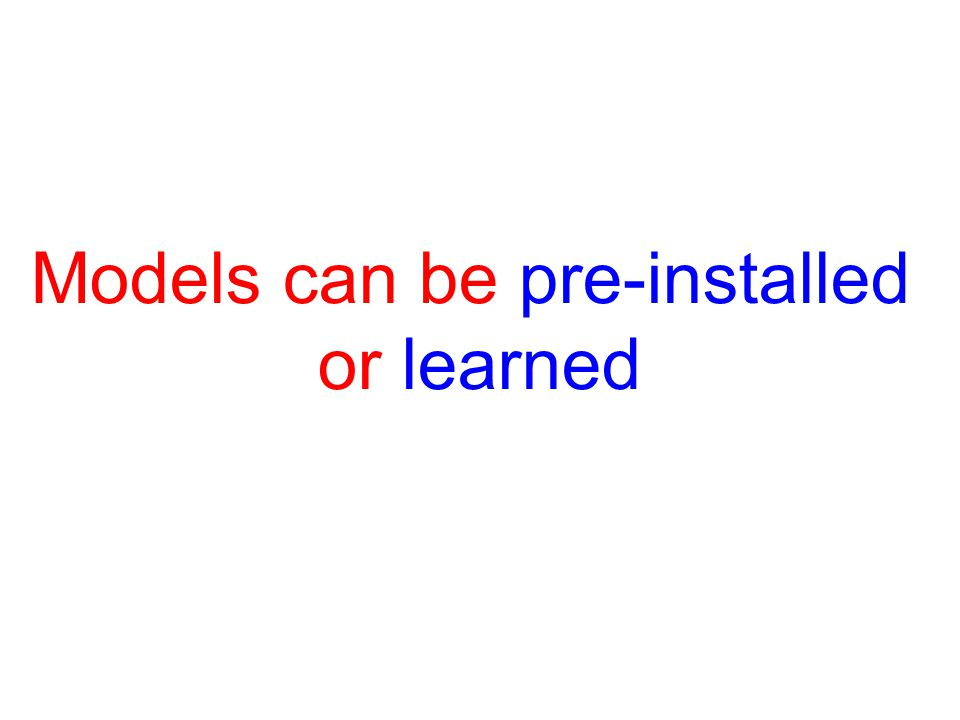 Types of Models Maps Memory of Previous States List of State-Action Pairs