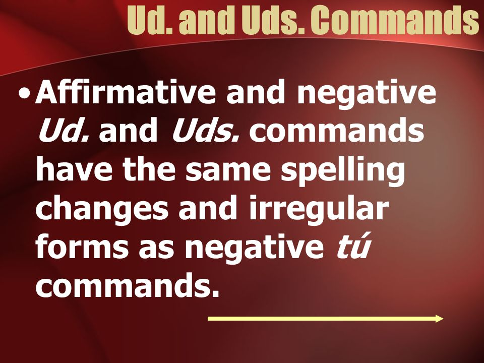 Ud.and Uds. Commands Affirmative and negative Ud.