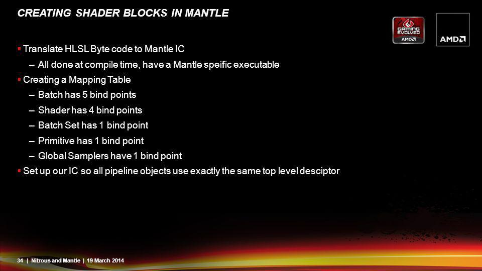 34| Nitrous and Mantle | 19 March 2014 CREATING SHADER BLOCKS IN MANTLE Translate HLSL Byte code to Mantle IC –All done at compile time, have a Mantle