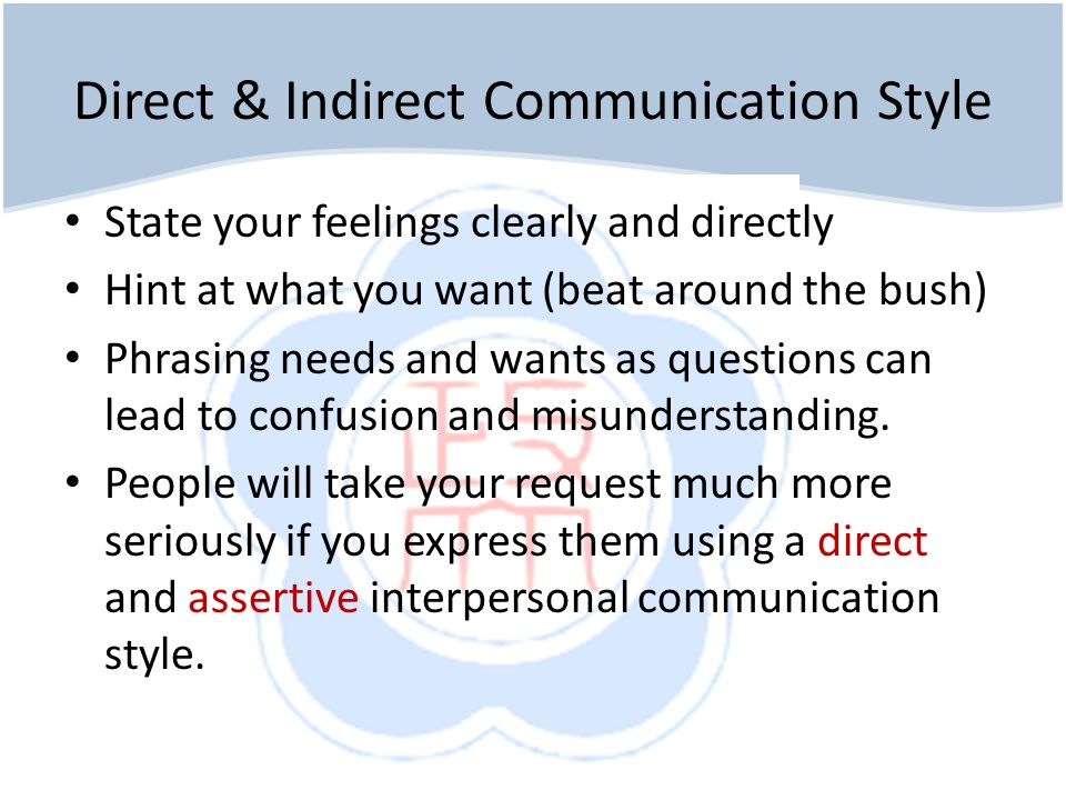 Direct & Indirect Communication Style State your feelings clearly and directly Hint at what you want (beat around the bush) Phrasing needs and wants as questions can lead to confusion and misunderstanding.
