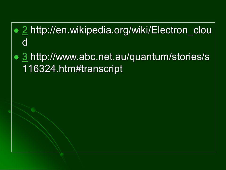 2 http://en.wikipedia.org/wiki/Electron_clou d 2 http://en.wikipedia.org/wiki/Electron_clou d 2 3 http://www.abc.net.au/quantum/stories/s 116324.htm#t