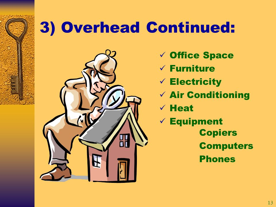13 3) Overhead Continued: Office Space Furniture Electricity Air Conditioning Heat Equipment Copiers Computers Phones