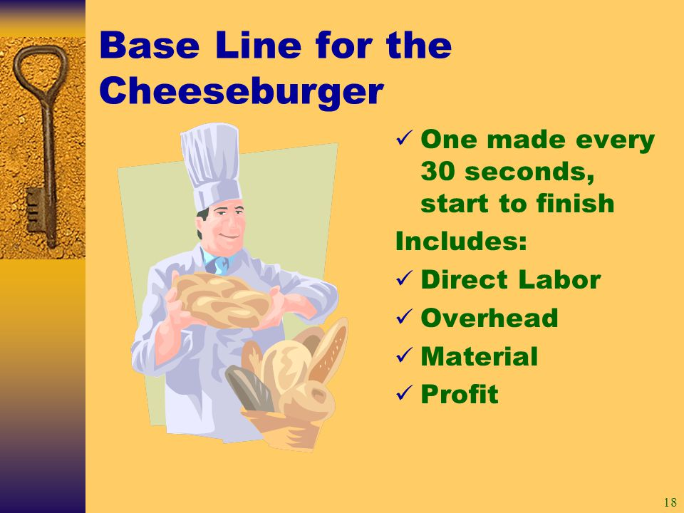 18 Base Line for the Cheeseburger One made every 30 seconds, start to finish Includes: Direct Labor Overhead Material Profit