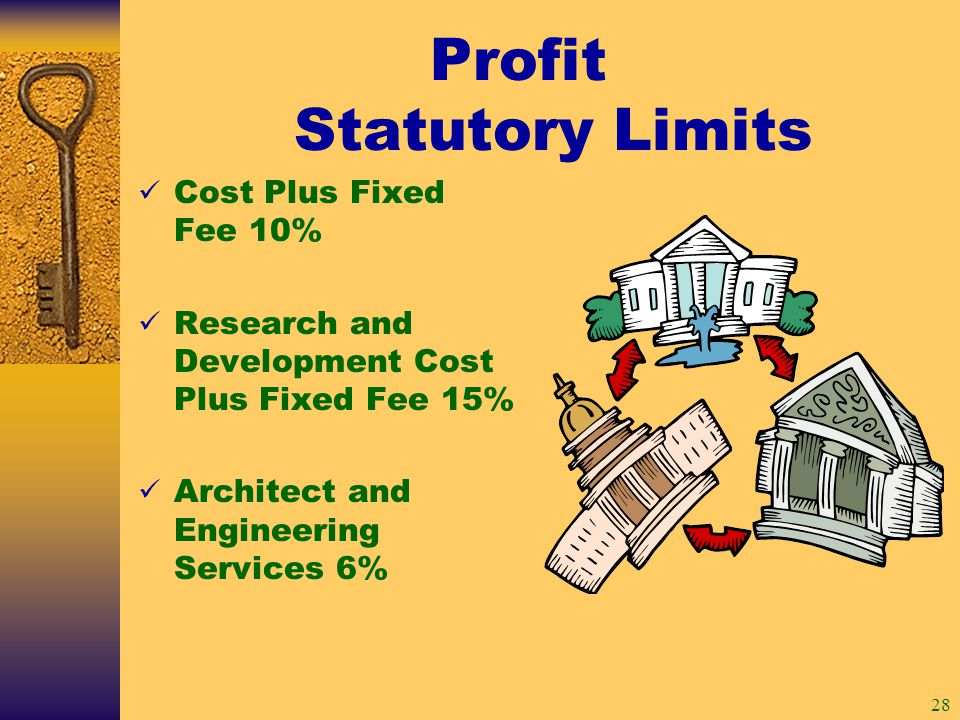 28 Profit Statutory Limits Cost Plus Fixed Fee 10% Research and Development Cost Plus Fixed Fee 15% Architect and Engineering Services 6%