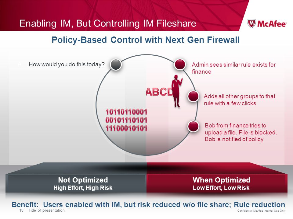 Confidential McAfee Internal Use Only 18Title of presentation Enabling IM, But Controlling IM Fileshare Benefit: Users enabled with IM, but risk reduced w/o file share; Rule reduction Policy-Based Control with Next Gen Firewall When Optimized Low Effort, Low Risk Not Optimized High Effort, High Risk