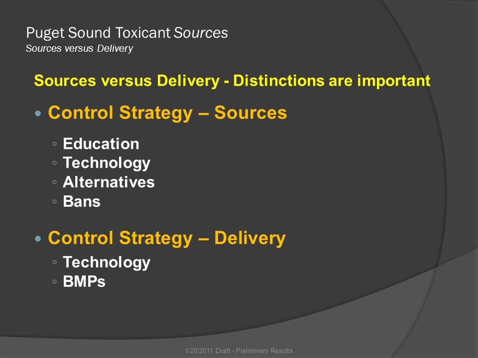 Puget Sound Toxicant Sources Sources versus Delivery Sources versus Delivery - Distinctions are important Control Strategy – Sources Education Technology Alternatives Bans Control Strategy – Delivery Technology BMPs 1/20/2011 Draft - Preliminary Results