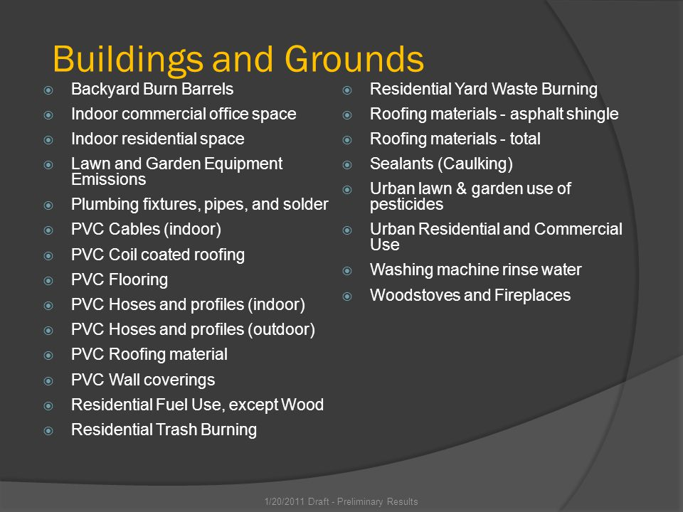 Buildings and Grounds Backyard Burn Barrels Indoor commercial office space Indoor residential space Lawn and Garden Equipment Emissions Plumbing fixtures, pipes, and solder PVC Cables (indoor) PVC Coil coated roofing PVC Flooring PVC Hoses and profiles (indoor) PVC Hoses and profiles (outdoor) PVC Roofing material PVC Wall coverings Residential Fuel Use, except Wood Residential Trash Burning Residential Yard Waste Burning Roofing materials - asphalt shingle Roofing materials - total Sealants (Caulking) Urban lawn & garden use of pesticides Urban Residential and Commercial Use Washing machine rinse water Woodstoves and Fireplaces 1/20/2011 Draft - Preliminary Results