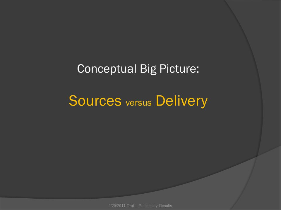 Conceptual Big Picture: Sources versus Delivery 1/20/2011 Draft - Preliminary Results
