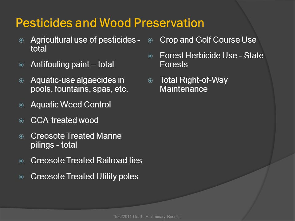 Pesticides and Wood Preservation Agricultural use of pesticides - total Antifouling paint – total Aquatic-use algaecides in pools, fountains, spas, etc.