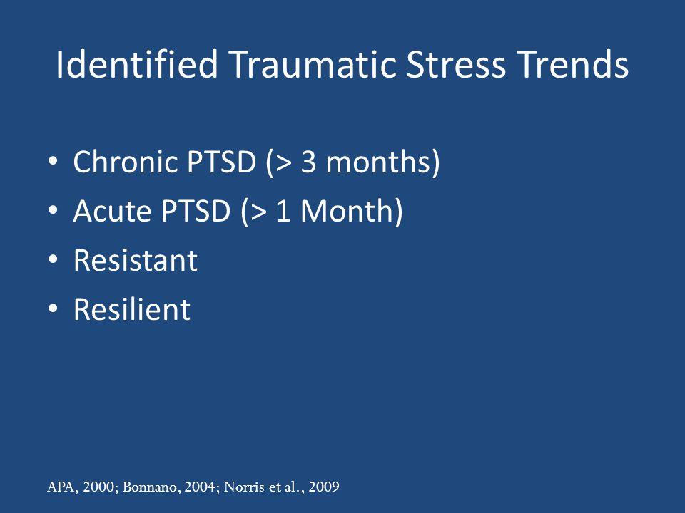 Identified Traumatic Stress Trends Chronic PTSD (> 3 months) Acute PTSD (> 1 Month) Resistant Resilient APA, 2000; Bonnano, 2004; Norris et al., 2009