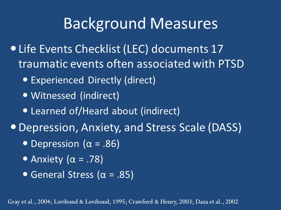 Background Measures Life Events Checklist (LEC) documents 17 traumatic events often associated with PTSD Experienced Directly (direct) Witnessed (indirect) Learned of/Heard about (indirect) Depression, Anxiety, and Stress Scale (DASS) Depression (α =.86) Anxiety (α =.78) General Stress (α =.85) Gray et al., 2004; Lovibond & Lovibond, 1995; Crawford & Henry, 2003; Daza et al., 2002