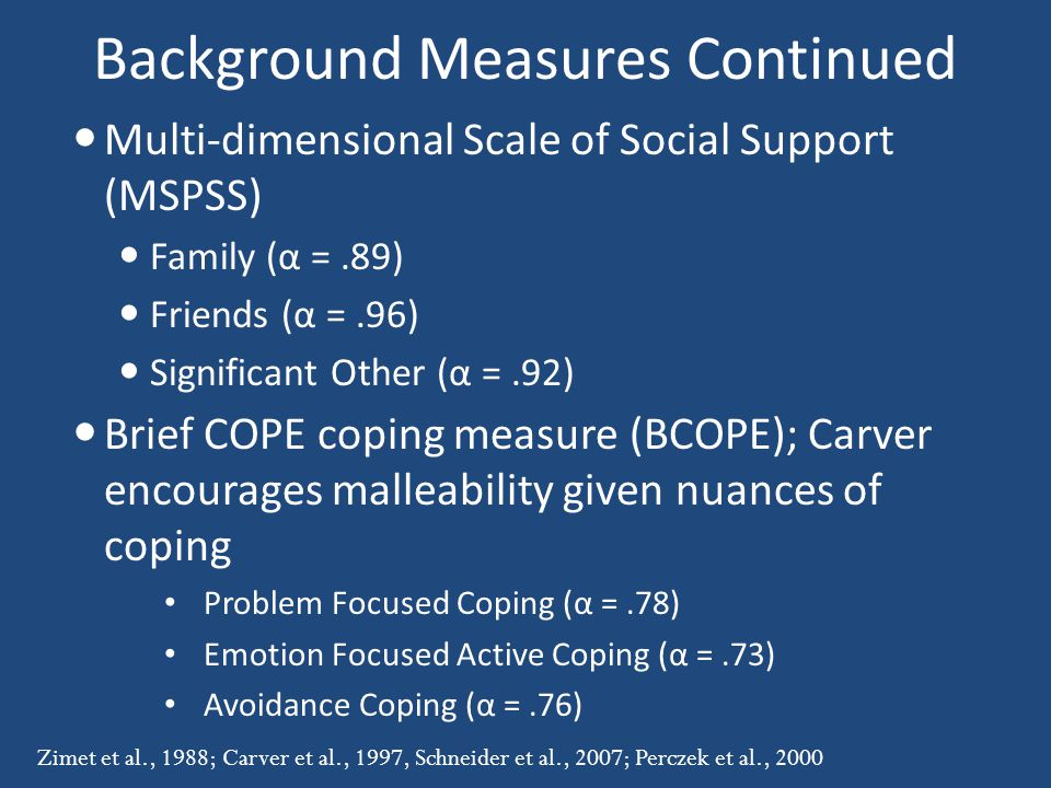 Background Measures Continued Multi-dimensional Scale of Social Support (MSPSS) Family (α =.89) Friends (α =.96) Significant Other (α =.92) Brief COPE