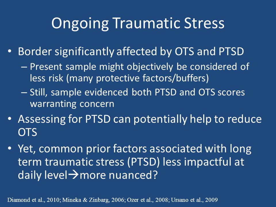Ongoing Traumatic Stress Border significantly affected by OTS and PTSD – Present sample might objectively be considered of less risk (many protective