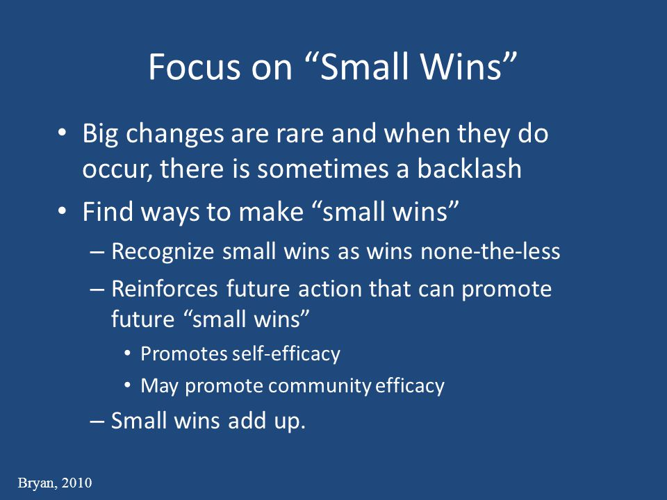 Focus on Small Wins Big changes are rare and when they do occur, there is sometimes a backlash Find ways to make small wins – Recognize small wins as wins none-the-less – Reinforces future action that can promote future small wins Promotes self-efficacy May promote community efficacy – Small wins add up.
