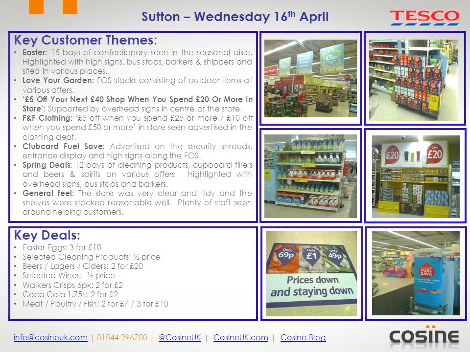 Key Customer Themes : Easter: 15 bays of confectionary seen in the seasonal aisle. Highlighted with high signs, bus stops, barkers & shippers and site