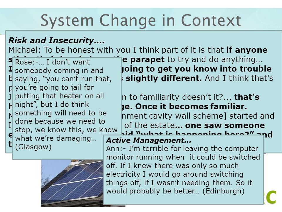 System Change in Context Difficulty in imagining change when embedded in daily life- How will change happen? – Head above the parapet Control and agen