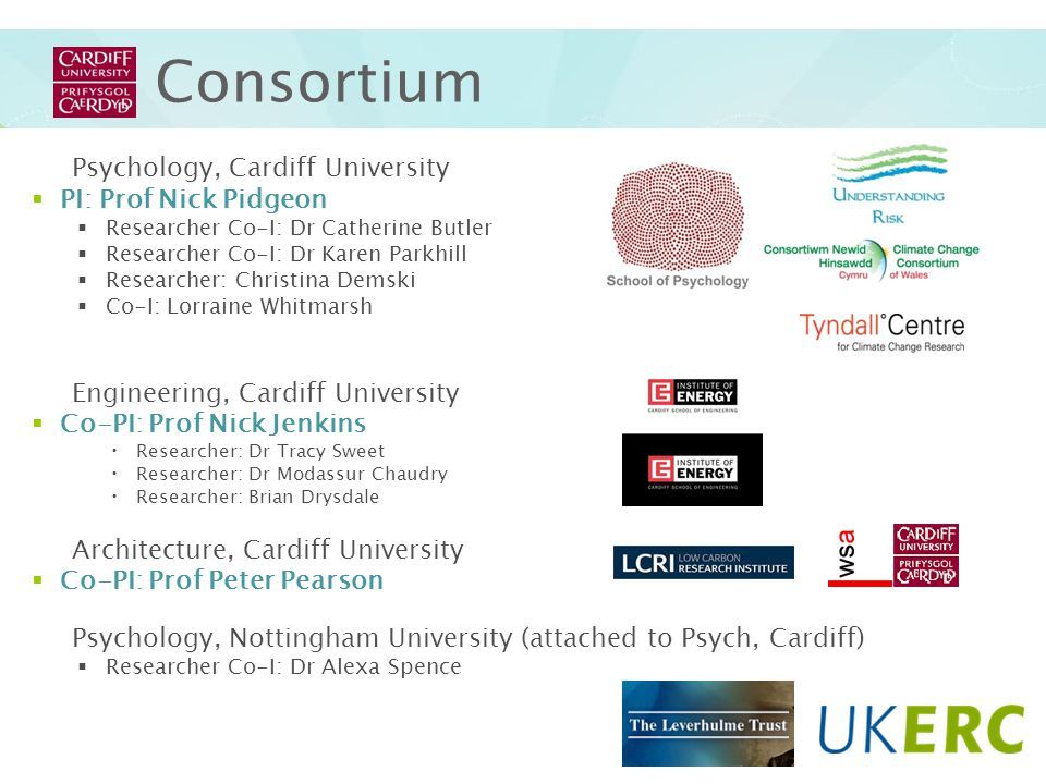 CU Consortium Psychology, Cardiff University PI: Prof Nick Pidgeon Researcher Co-I: Dr Catherine Butler Researcher Co-I: Dr Karen Parkhill Researcher: Christina Demski Co-I: Lorraine Whitmarsh Engineering, Cardiff University Co-PI: Prof Nick Jenkins Researcher: Dr Tracy Sweet Researcher: Dr Modassur Chaudry Researcher: Brian Drysdale Architecture, Cardiff University Co-PI: Prof Peter Pearson Psychology, Nottingham University (attached to Psych, Cardiff) Researcher Co-I: Dr Alexa Spence