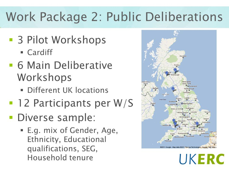 Work Package 2: Public Deliberations 3 Pilot Workshops Cardiff 6 Main Deliberative Workshops Different UK locations 12 Participants per W/S Diverse sample: E.g.
