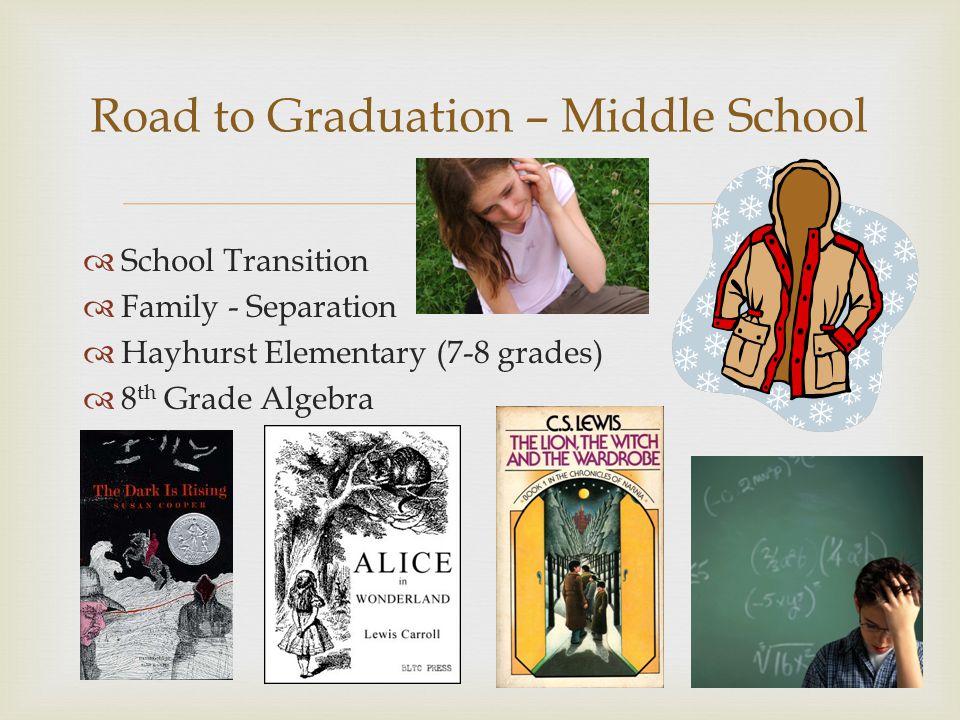 School Transition Family - Separation Hayhurst Elementary (7-8 grades) 8 th Grade Algebra Road to Graduation – Middle School