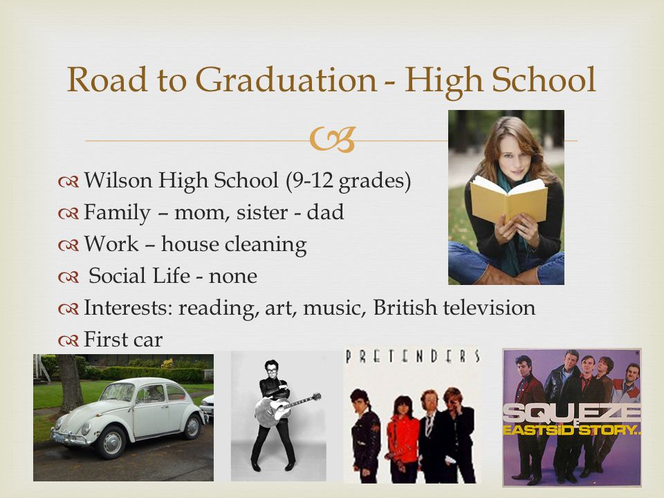 Wilson High School (9-12 grades) Family – mom, sister - dad Work – house cleaning Social Life - none Interests: reading, art, music, British television First car Road to Graduation - High School