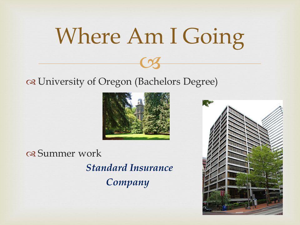 University of Oregon (Bachelors Degree) Summer work Standard Insurance Company Where Am I Going