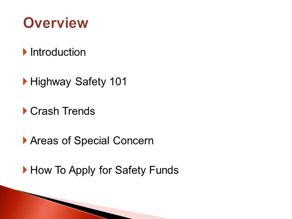 Introduction Highway Safety 101 Crash Trends Areas of Special Concern How To Apply for Safety Funds