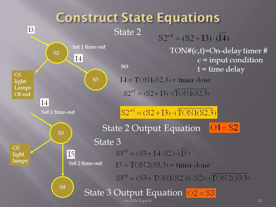 et438b-8.pptx13 S2 S3 O1 light Lamps O0 not Set 1 time-out State 2 TON#(c,t)=On-delay timer # c = input condition t = time delay S3 Set 1 time-out O2